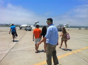 walking on the runway to our plane