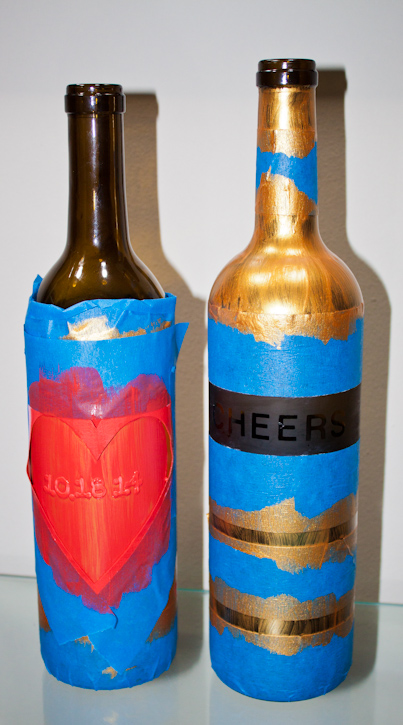 wine bottle painting and etching