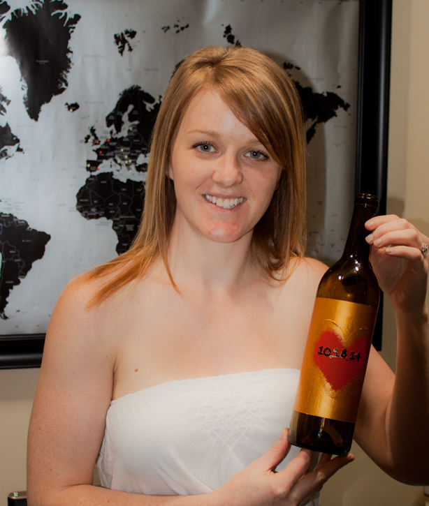 Finished wine bottle with wedding date