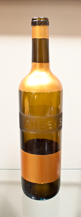 finished etched wine bottle