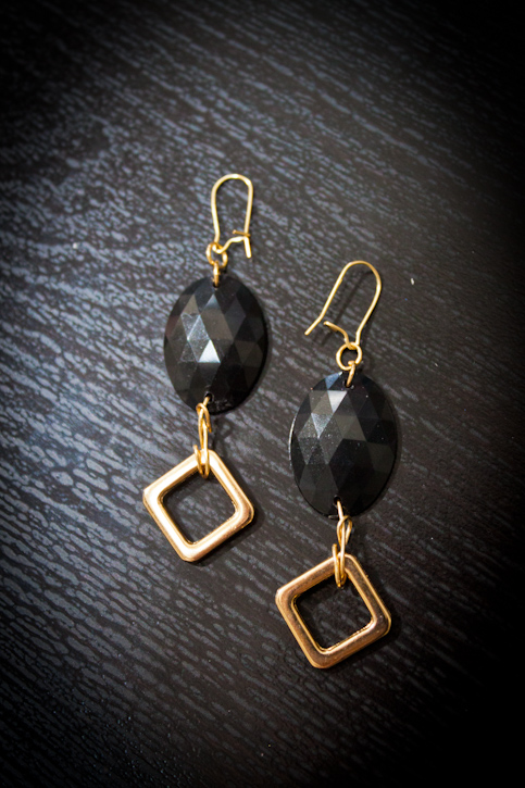 DIY black and gold dangle earrings